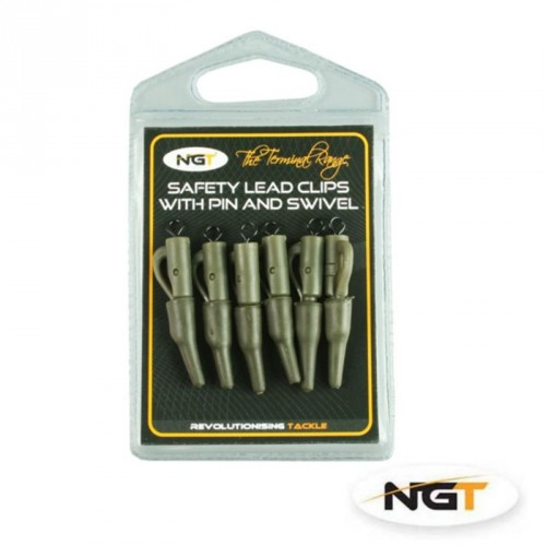 Švino prikabinimo laikiklis su suktuku NGT safety lead clips with pin, swivel and tail rubbers 6