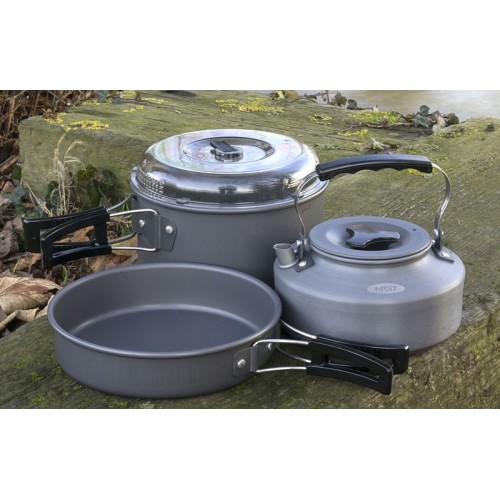 Maisto ruošimo rinkinys 3pc Aluminium Kettle, Pot & Pan Set Ngt